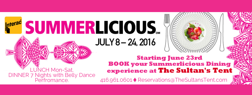 Summerlicious at sultans tent july 8-24, 2016