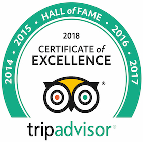 Certificate of excellence by Tripadvisor for year 2018