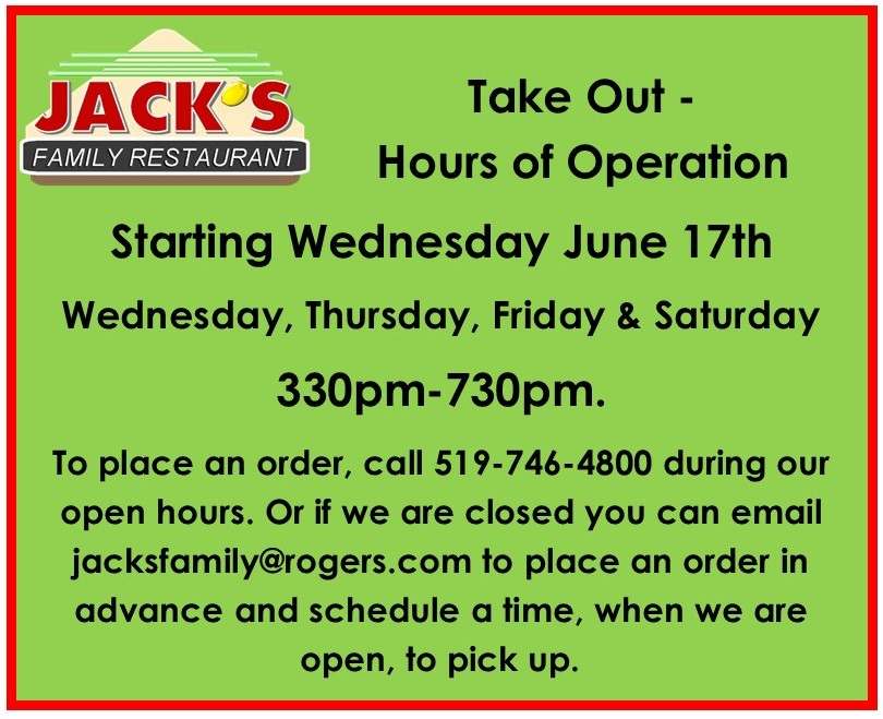 takeout Hours