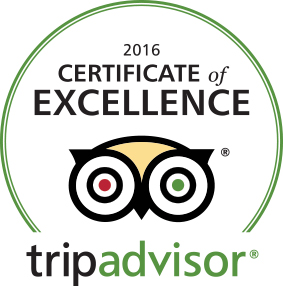 Certificate of excellence by Tripadvisor for year 2016