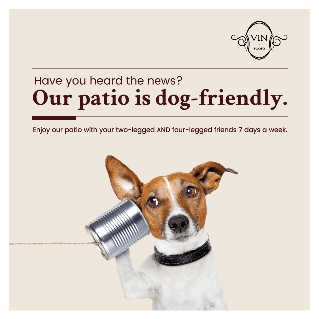 Vin Room Is Now Licensed At Both Their Locations In Mission And West Springs To Have Dogs On The Patio Allows Front